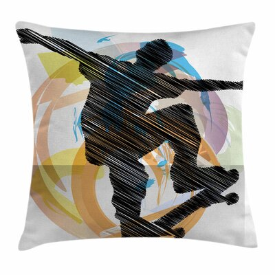 Teen Room Decor Skater Sketch Square Pillow Cover Size: 16 x 16