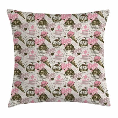 Ice Cream Grunge Cupcakes Square Pillow Cover Size: 18 x 18