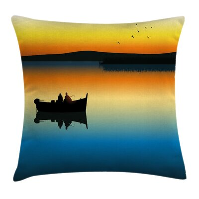 Nature Sunset at Lake Fishing Square Pillow Cover Size: 18 x 18