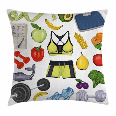 Fitness Live Healthy Eat Clean Square Pillow Cover Size: 18 x 18