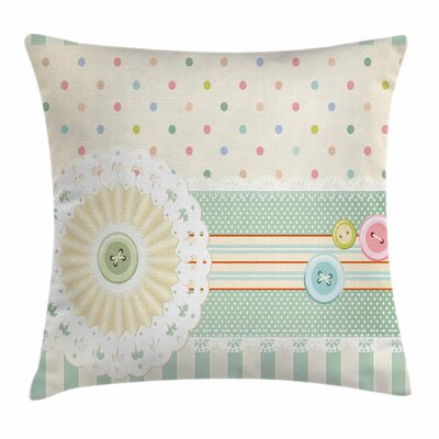 Buttons Dots Square Pillow Cover Size: 18 x 18