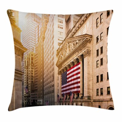 Wall Street Flags Square Pillow Cover Size: 18 x 18