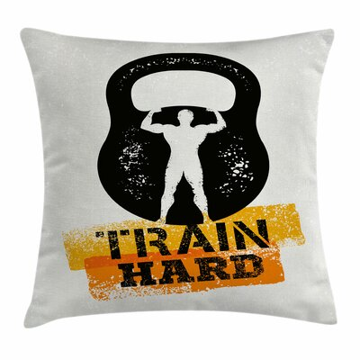 Fitness Aged Kettlebell Athlete Square Pillow Cover Size: 18 x 18
