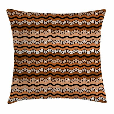 Tribal Wavy Lines Artful Square Pillow Cover Size: 16 x 16