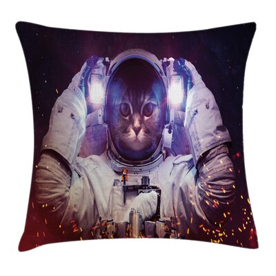 Space Cat Nebula Galaxy Cosmos Square Pillow Cover Size: 24 x 24