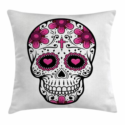 Sugar Skull Flower Hearts Swirl Square Pillow Cover Size: 16 x 16