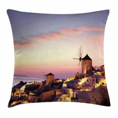Windmill Decor Santorini Greece Square Pillow Cover Size: 24 x 24
