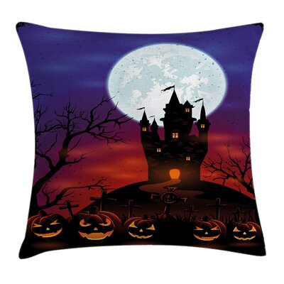 Halloween Decor Haunted Castle Square Pillow Cover Size: 16 x 16