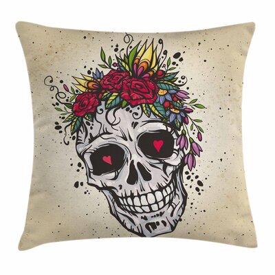 Skull Boho Chic Skull Square Pillow Cover Size: 18 x 18