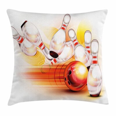 Bowling Party Falling Skittles Square Pillow Cover Size: 18 x 18