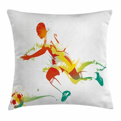 Teen Room Decor Soccer Player Square Pillow Cover Size: 24 x 24