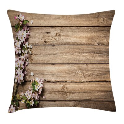 Wooden Blooming Orchard Spring Square Pillow Cover Size: 18 x 18