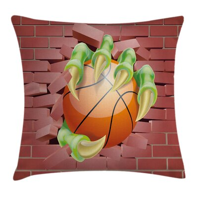 Monster Basketball Cartoon Square Pillow Cover Size: 18 x 18