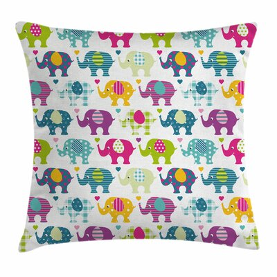 Elephant Colorful Retro Square Pillow Cover Size: 16 x 16