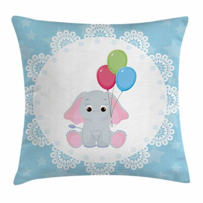 Elephant Balloons Stars Square Pillow Cover Size: 16 x 16