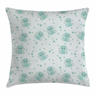 Elephant Spring Child Square Pillow Cover Size: 16 x 16