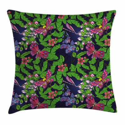 Flower Tropical Vivid Petal Square Pillow Cover Size: 16 x 16