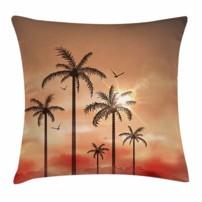 Tropical Palms Dramatic Sky Square Pillow Cover Size: 18 x 18