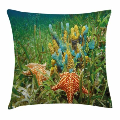 Starfish Decor Underwater Life Square Pillow Cover Size: 18 x 18