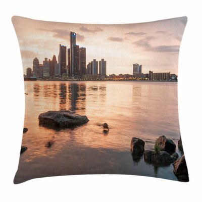 Detroit Decor Idyllic Sunset Square Pillow Cover Size: 18 x 18