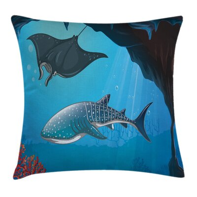 Cartoon Swimming Shark Ocean Square Pillow Cover Size: 18 x 18
