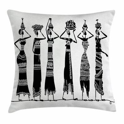 African Woman Women Jugs Dress Square Pillow Cover Size: 24 x 24