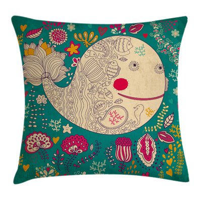 Whale Happy Sea Giant Blooms Square Pillow Cover Size: 16 x 16