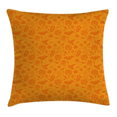 Halloween Pumpkin Skull Square Pillow Cover Size: 16 x 16