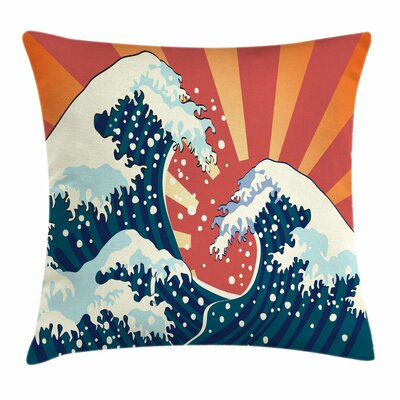 Japanese Wave Summer Sunset Square Pillow Cover Size: 16 x 16