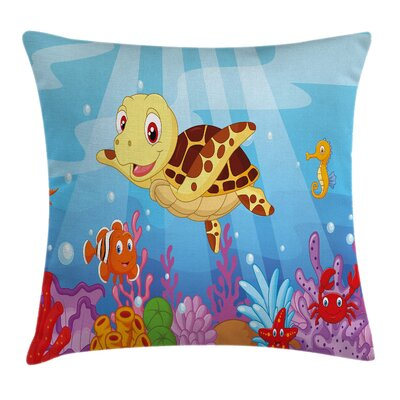 Cute Baby Turtle Fishes Square Pillow Cover Size: 16 x 16