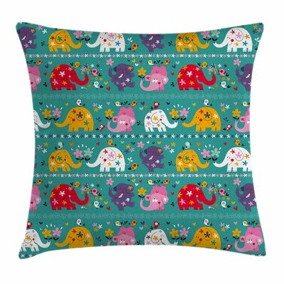 Elephant Joyful Nature Square Pillow Cover Size: 16 x 16