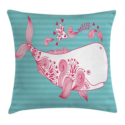 Be Happy Cute Big Fish Square Pillow Cover Size: 18 x 18