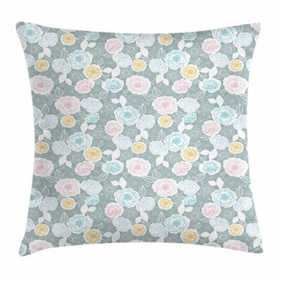 Pastel Ornate Flourish Pattern Square Pillow Cover Size: 24 x 24