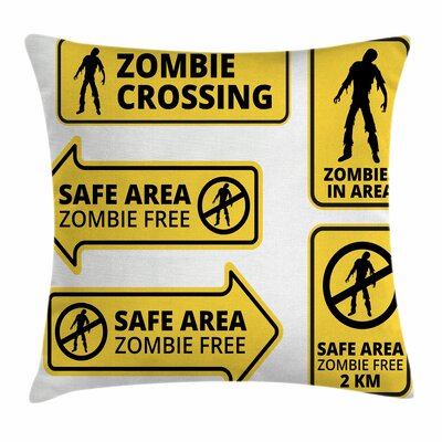 Zombie Decor Safe Area Zone Square Pillow Cover Size: 18 x 18