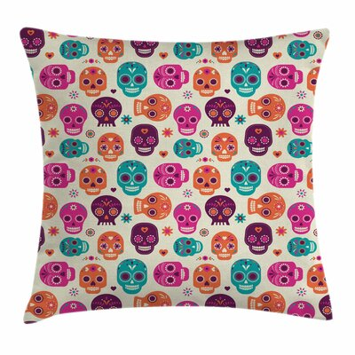 Sugar Skull Cute Hearts Flora Square Pillow Cover Size: 16 x 16