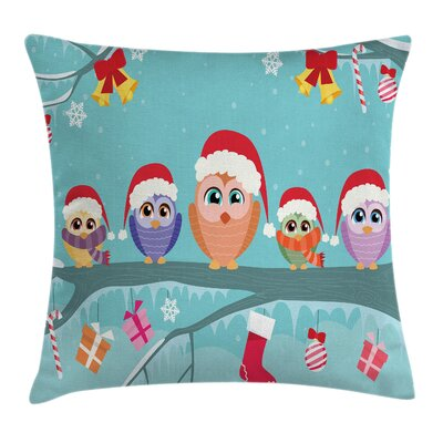Christmas Cute Owl Family Tree Square Pillow Cover Size: 24 x 24