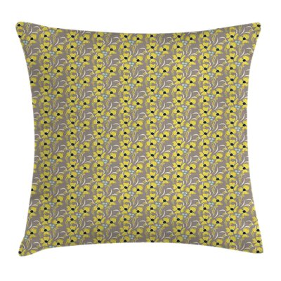 Romantic Flowers Square Pillow Cover Size: 20 x 20