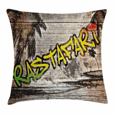 Rasta Rastafari Street Graffiti Square Pillow Cover Size: 18 x 18