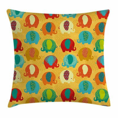 Elephant Ethnic Indian Square Pillow Cover Size: 24 x 24