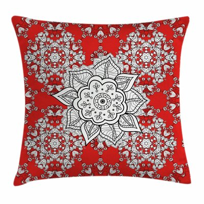 Red Mandala India Ethnic Doodle Square Pillow Cover Size: 20 x 20