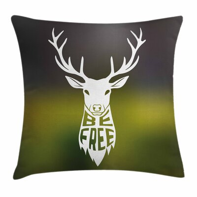 Deer Head Art Square Pillow Cover Size: 18 x 18