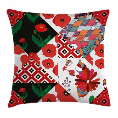 Slavic Patchwork Poppy Square Pillow Cover Size: 24