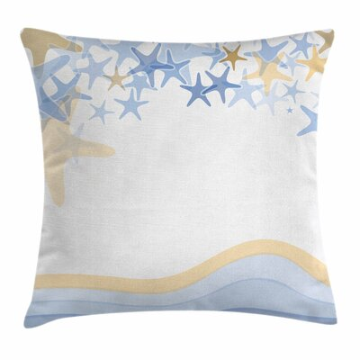 Starfish Decor Wavy Ocean Life Square Pillow Cover Size: 24 x 24