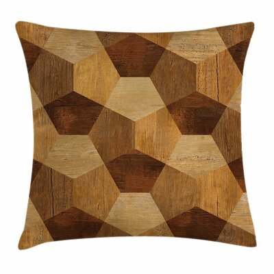 Retro Wooden Rustic Pattern Square Pillow Cover Size: 16 x 16