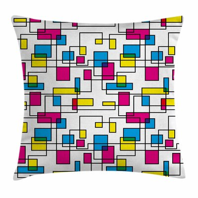 Abstract Artistic Digital Line Square Pillow Cover Size: 24 x 24