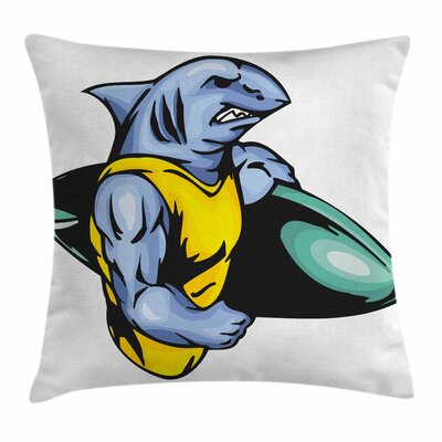 Shark Grumpy Surfer Muscle Body Square Pillow Cover Size: 18 x 18