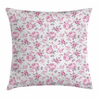 Shabby Elegance Decor Roses Square Pillow Cover Size: 16 x 16