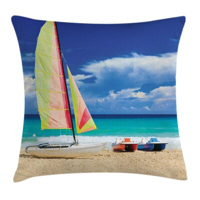 Holiday Ocean Sailing Exotic Square Pillow Cover Size: 16 x 16