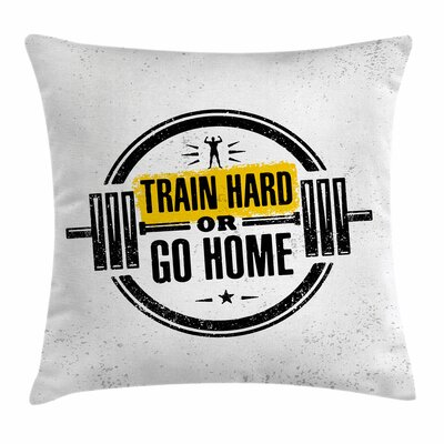 Fitness Stamp Text Sportsman Square Pillow Cover Size: 24 x 24