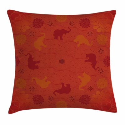 Asian Nature Theme Square Pillow Cover Size: 16 x 16